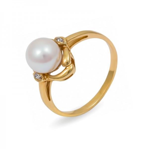 Кольцо из желтого золота 585 пробы с морским жемчугом Акойя и бриллиантами