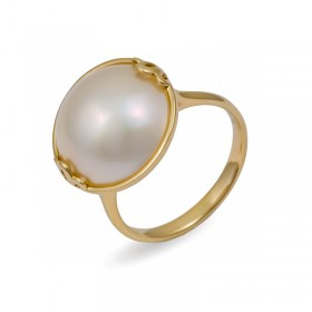Кольцо из желтого золота 750 пробы с морским жемчугом Мабе