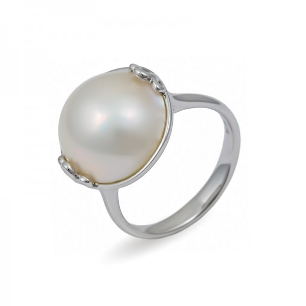 Ring in White Gold 750 with Mabe Sea Pearls