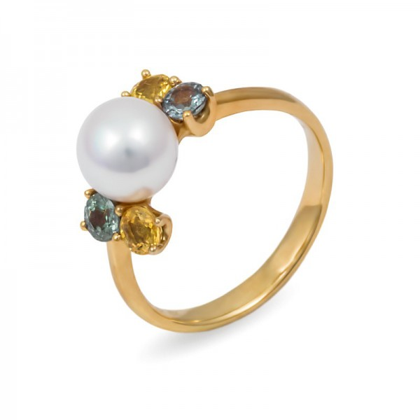 Ring in yellow gold 750 with Akoya sea pearls and sapphires