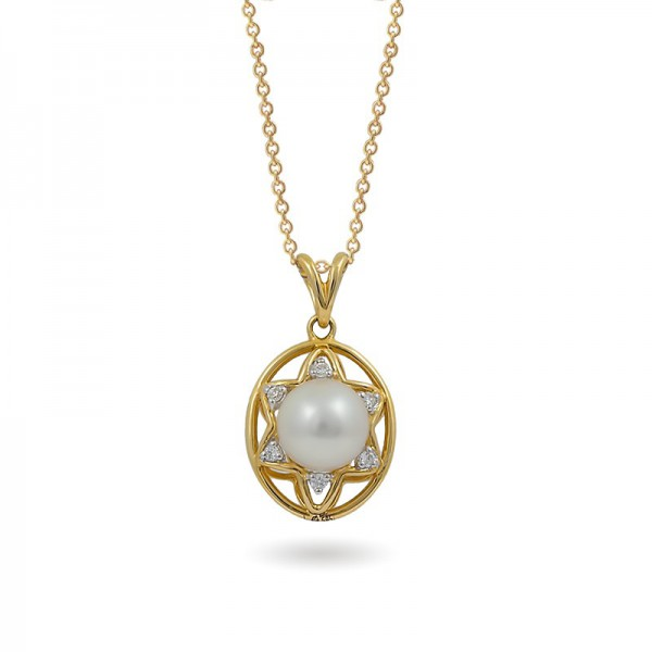 585 yellow gold pendant with Akoya sea pearls and diamonds