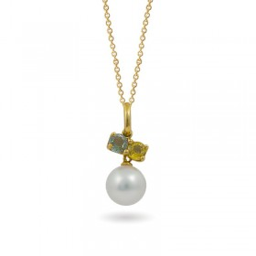 Yellow Gold Pendant 750 with Akoya Sea Pearls and Sapphires