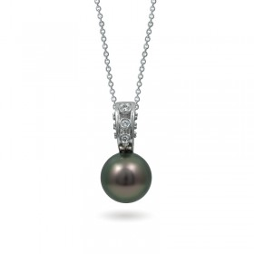 14ct white gold pendant with Tahiti sea pearls and diamonds