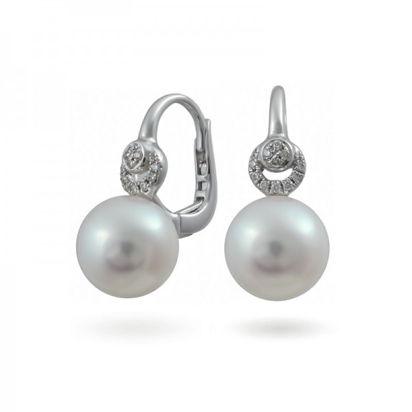Earrings from 14 karat white gold with Akoya sea pearls and diamonds
