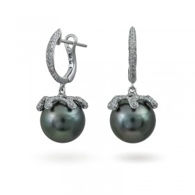 Earrings from 14 karat white gold with Tahiti sea pearls and diamonds
