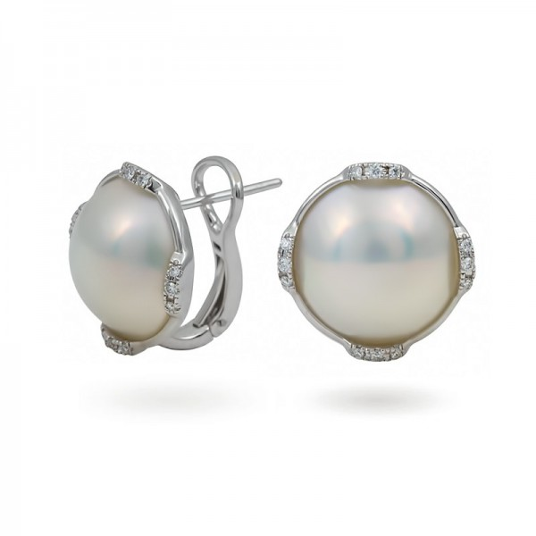 Earrings in White Gold 750 with Mabé Sea Pearls and Diamonds