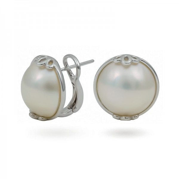 Earrings from 14 karat white gold with Mabe sea pearls