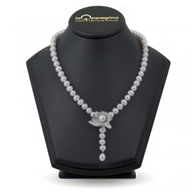 Ожерелье-галстук из натурального жемчуга  10,0 - 11,0  мм