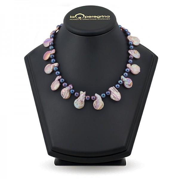 Ожерелье из барочного жемчуга цвета мультиколор