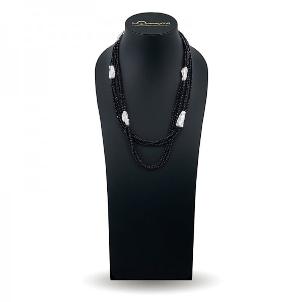 Ожерелье из трех нитей агата со вставками из барочного жемчуга 14,0 - 15,0 мм