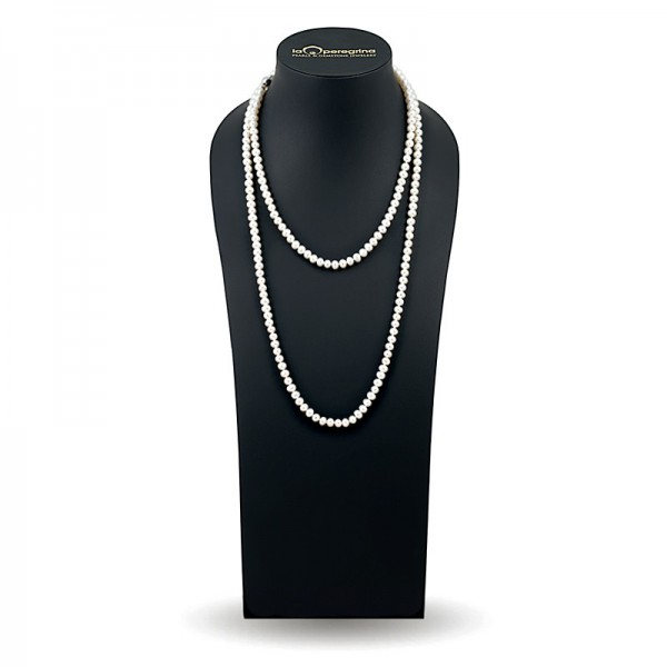 Beads 120 cm from natural pearls 6.5 - 7.0 mm
