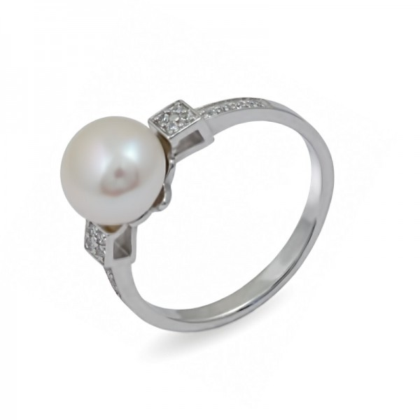 Ring from 925 sterling silver with natural pearls