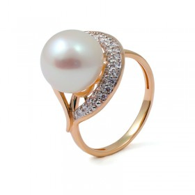 Ring from 14 karat gold with natural pearls and fannits