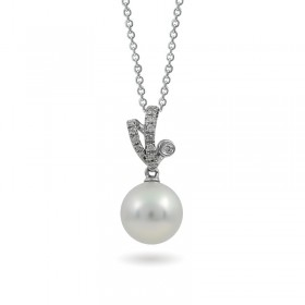 585 Gold Pendant with Akoya Sea Pearls and Diamonds