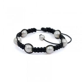 Shambhala bracelet with natural pearls
