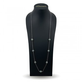 925 sterling silver necklace with Tahitian pearl inlays