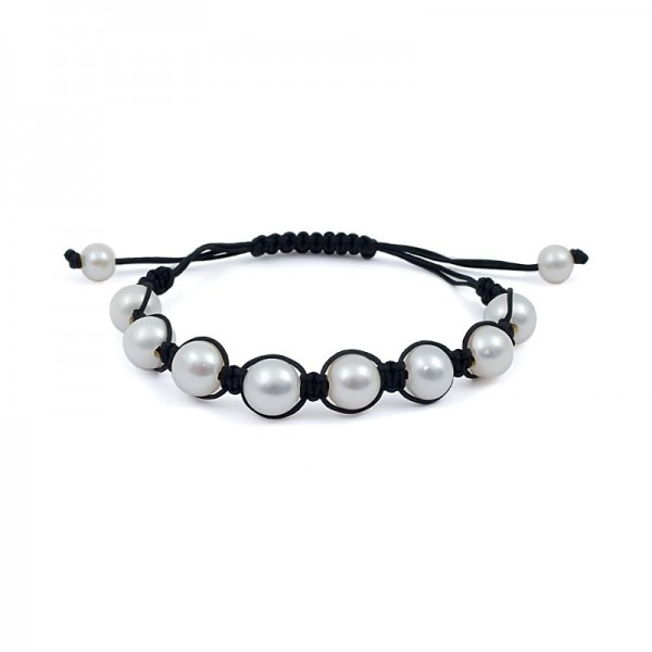 Shambhala bracelet with natural pearls