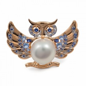 Owl brooch in gold 585 with natural pearls and nano-spinel (blue and blue)