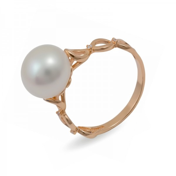 585 gold ring with natural pearls and cubic zirconias