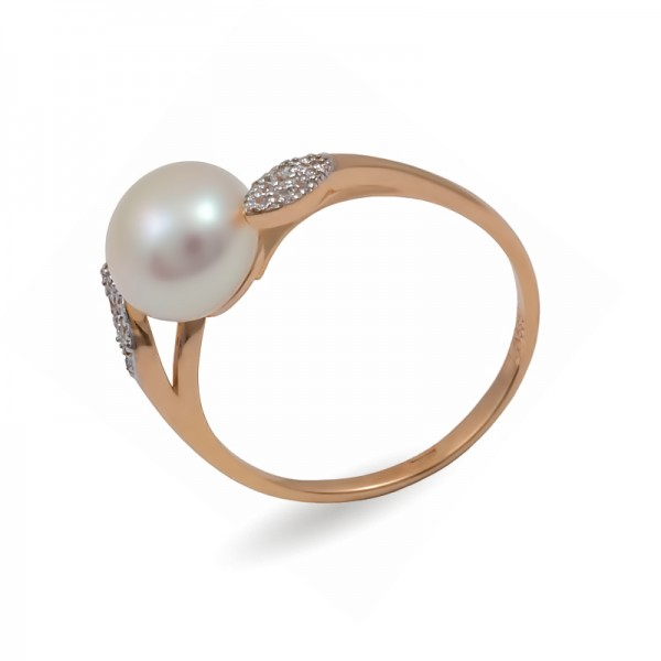 585 Gold Ring with Natural Freshwater Pearls and Zircons