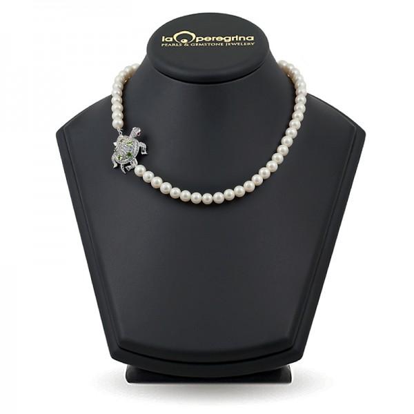 """Ожерелье из пресноводного жемчуга, 47 см, 10 - 11 мм, замок """"черепаха"""" серебро 925, фианиты"""