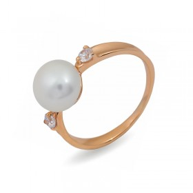 Ring from 14 karat gold with natural pearls and cubic zirconias