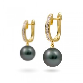 Earrings from 14 karat gold with Tahitian pearls and diamonds