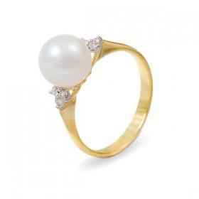 Кольцо из золота 585 пробы с белым пресноводным жемчугом 7,5 мм и 6 бриллиантами 0,12К
