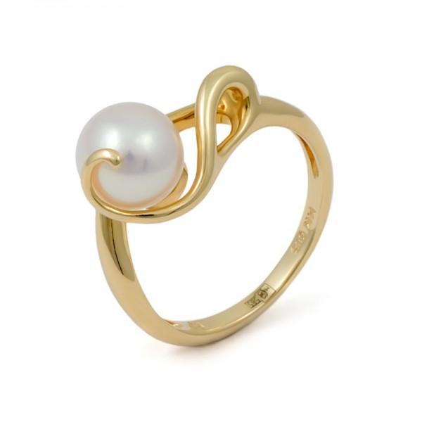 Кольцо из золота 585 пробы с морским жемчугом Акойя