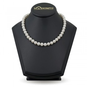 Necklace made of white natural pearls AA 9.0 - 9.5 mm