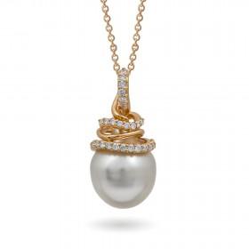 Подвеска из золота 750 и бриллиантами с морским жемчугом южные моря