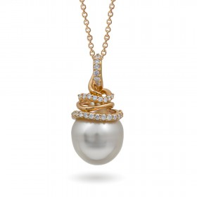 Gold pendant 750 with pearls of the southern seas and diamonds