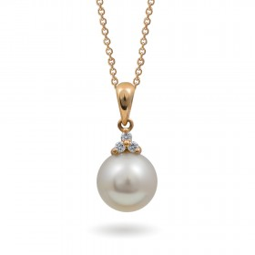 750 Gold Pendant with Akoya Sea Pearls and Diamonds