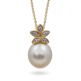 585 Gold Pendant with South Sea Pearls and Diamonds