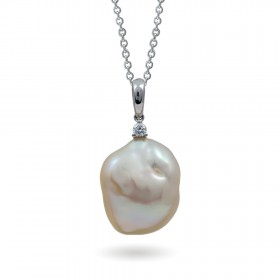 Sterling Gold Pendant with Freshwater Pearls and Diamonds