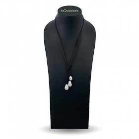 Ожерелье из агата 75 см со вставками из барочного жемчуга 14,0 - 15,0 мм