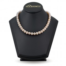 Necklace made of pink natural pearls 10.0 - 10.5 mm