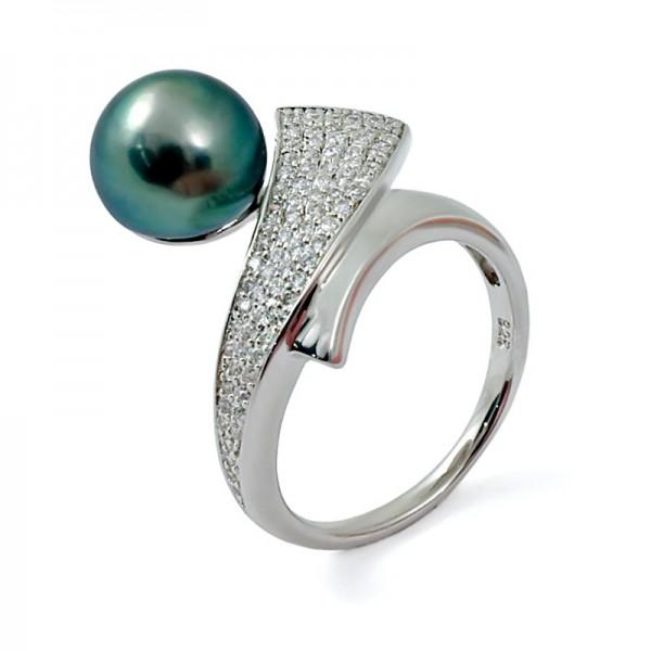 Кольцо из серебра 925 пробы с морским таитянским жемчугом