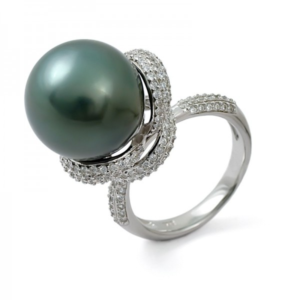 925 Sterling Silver Ring with Tahitian Sea Pearls