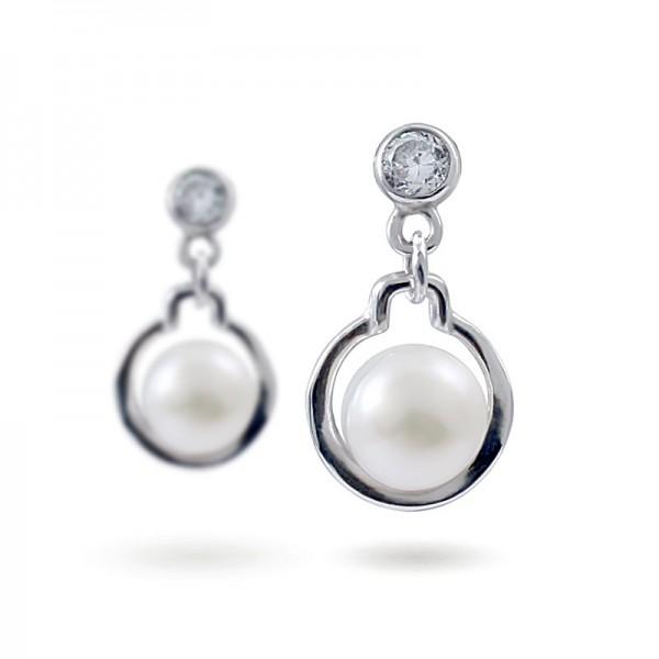 Серьги из серебра 925 пробы с пресноводными жемчугом и цирконием