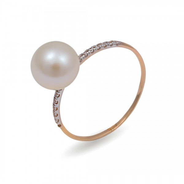 Ring in 585 gold with natural pearls and cubic zirkonia