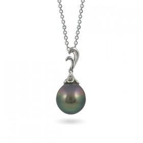 Gold pendant 750 with Akoya sea pearls and diamonds