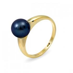 Кольцо из золота 585 пробы с черным пресноводным жемчугом 7,5 мм