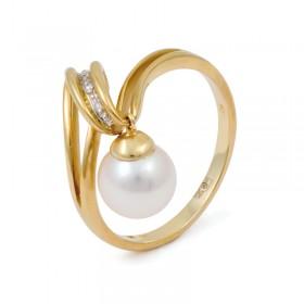 Кольцо из золота 585 пробы с натуральным жемчугом и бриллиантами