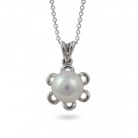 18-karat gold pendant with sea pearls and diamonds