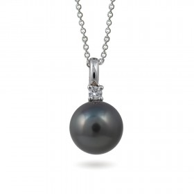 18K white gold pendant with Tahitian sea pearls and diamond