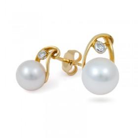750 Gold Earrings with Akoya Sea Pearls and Diamonds
