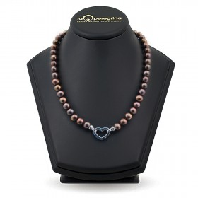Necklace made of natural chocolate pearls AA + 7.5 - 8.0 mm