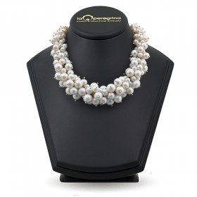 Freshwater pearl necklace, 47 cm, 10 - 11 mm, turtle lock silver 925, cubic zirconia