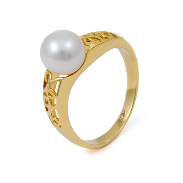 Gold 750 Ring with Akoya Sea Pearls
